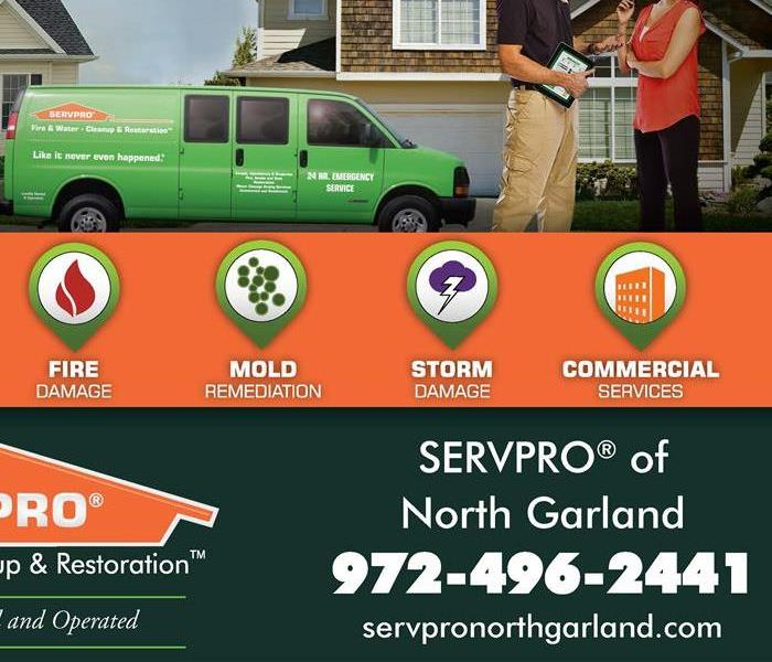 A SERVPRO ad depicting the different services we offer such as fire, water, mold, storm, and commercial clean up services.