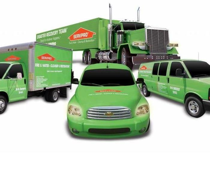 A Servpro ad depicting 4 of the types of vehicles you use in our daily services.